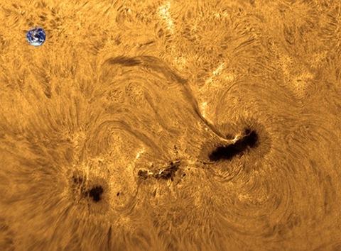 Солнечные пятна и земной шар в одном масштабе