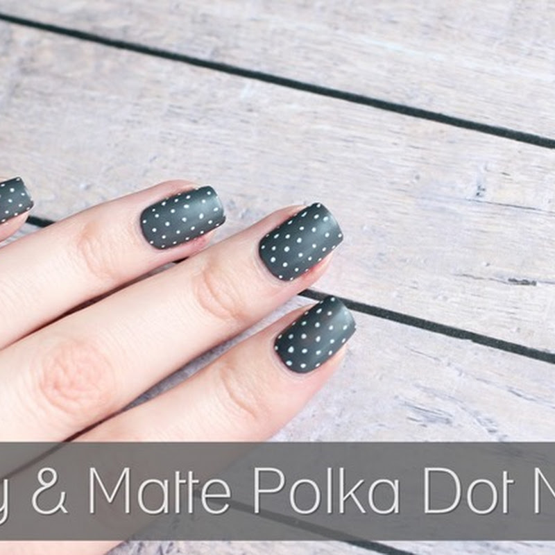 [Nail Art] Grey & Matte Polka Dot Nails