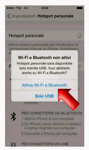 Utilizzare internet Iphone per Mac, Hotspot personale