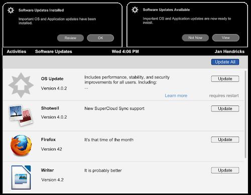 Gnome App Center - update