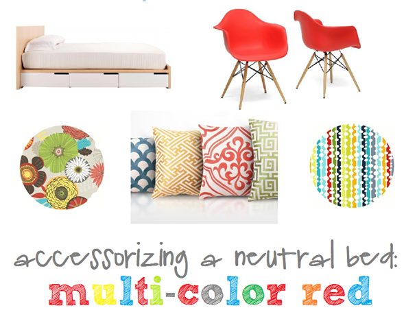 accessorizing a neutral bed with red and bright pop colors