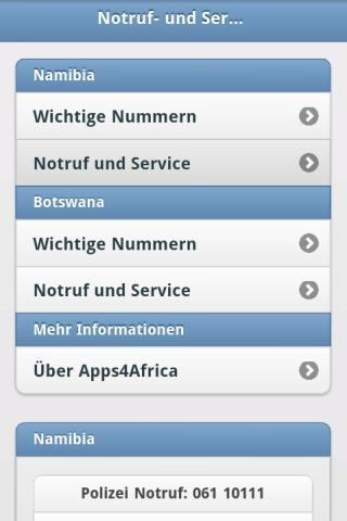 Notfall und Servicenummern