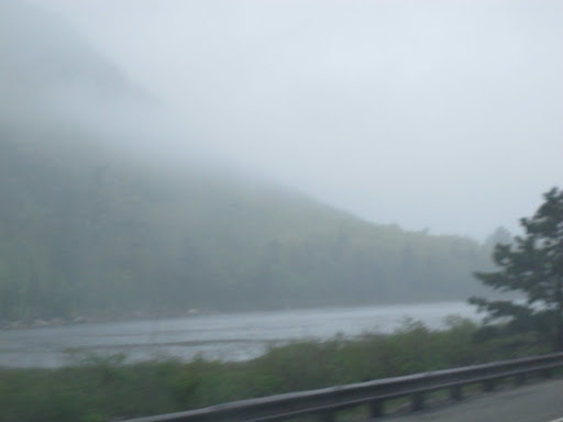 We're driving along Otter Creek Road and the views are very scenic, even in this fog.  That pond is called The Tarn.