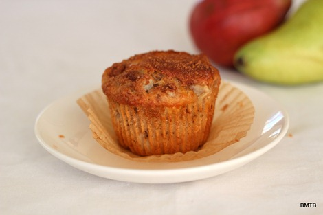 Pear, Walnut and White Chocolate Muffins