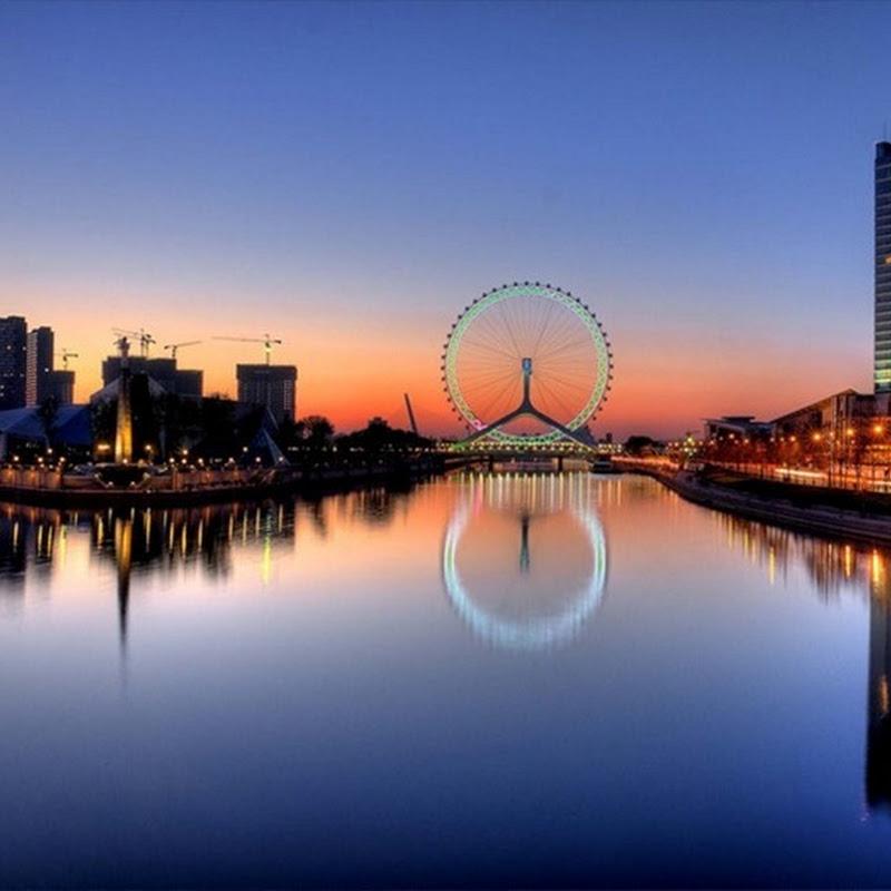 Tianjin Eye: Gigantic Ferris Wheel on a Bridge