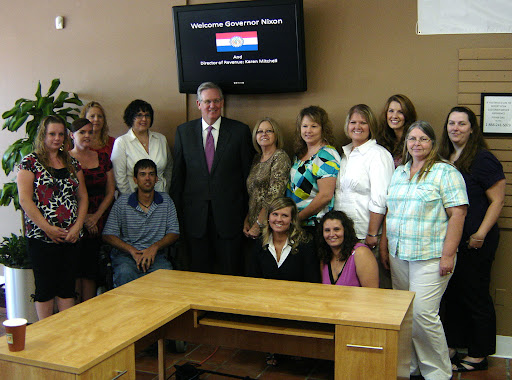 Gov. Jay Nixon poses with the employees of the South Fremont License Office. (photo credit: Sam Senovich)