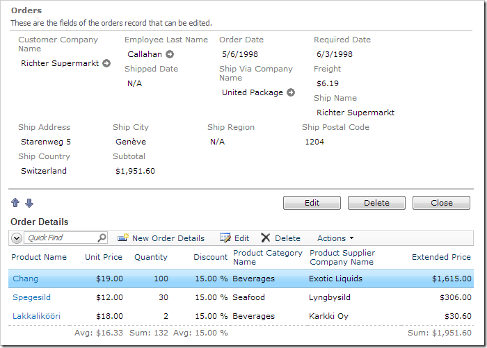 If one of the order details is changed, the subtotal will be updated to reflect the changes.