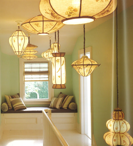 This whimsical arrangement of lanterns evokes the edginess of a modern sculpture.