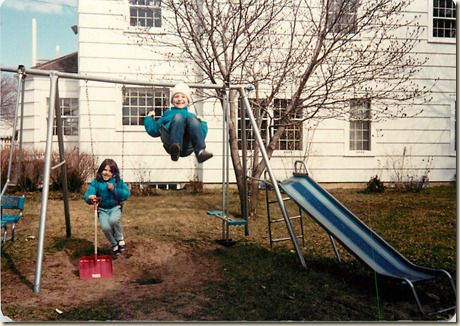 wendy and steph on swingset 1989