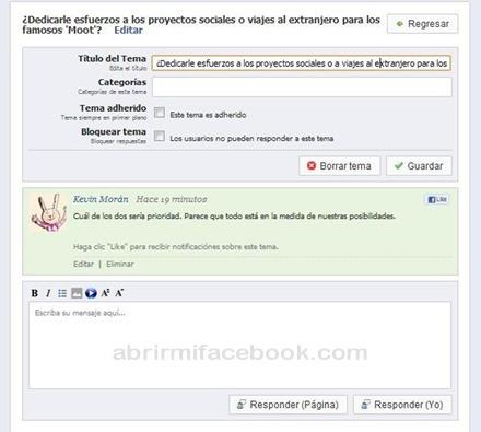 Crear foro de discusión en Facebook