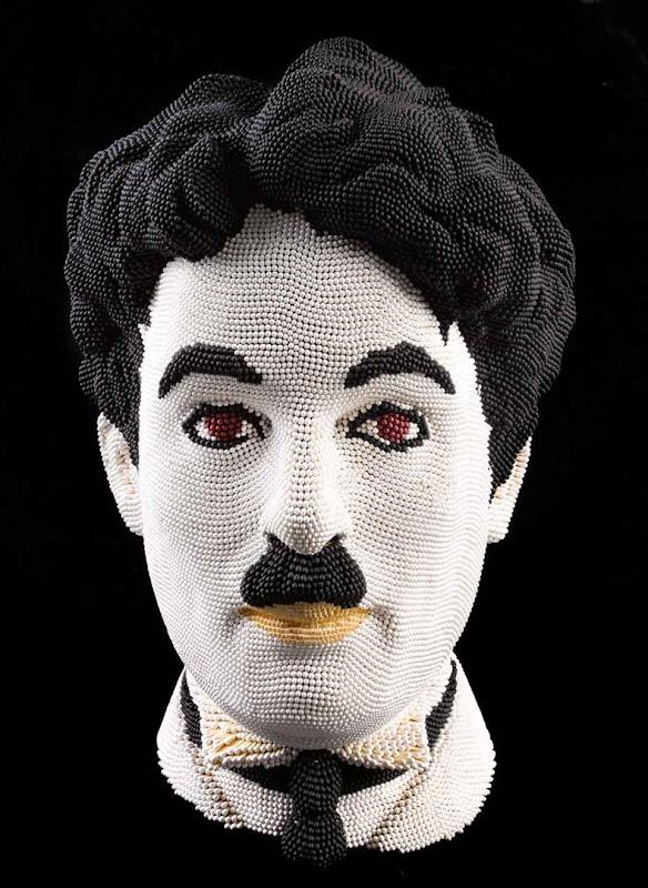 Скульптуры-головы, удивительные скульптуры, скульптуры из спичек, David Mach