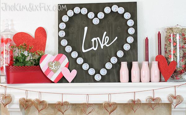 Valentines love mantel