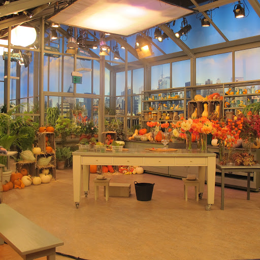 This is the set where I filmed the flower arranging segment for this episode. It's meant to feel like a greenhouse with a view of the city in the background; it works, don't you think?