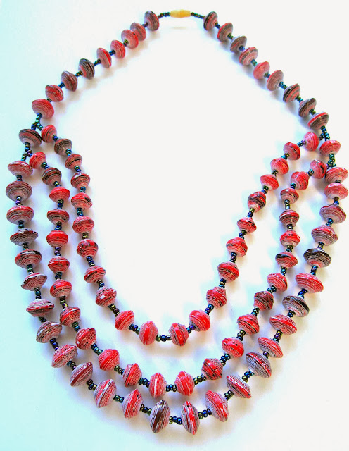 Drape Paper Bead Necklace.Uganda Fair Trade