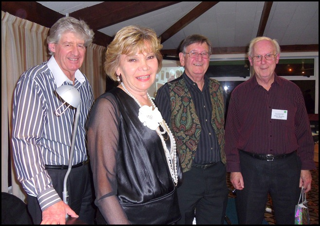 Carole Littlejohn's Music Makers Band after the performance. Left to Right: Ian Jackson, Carole Littlejohn, Len Hancy and Peter Brophy. Photo courtesy of Club Secretary, Colleen Kerr.