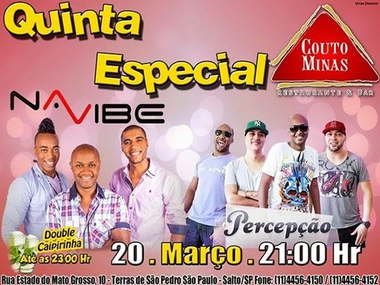 Grupos Percepção e Na Vibe agitam a noite de quinta, dia 20, no Couto Minas, em Salto