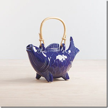 blue koi fish teapot