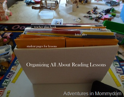 Organizing All About Reading Lessons
