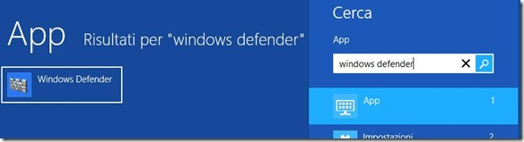 Ricerca Windows Defender dalla Charm Bar di Windows 8