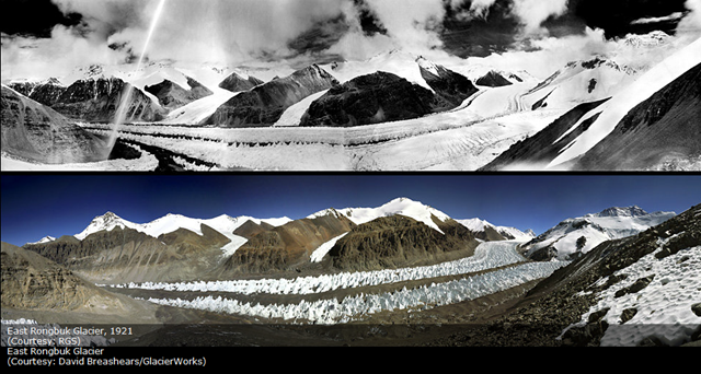 East Rongbuk Glacier, 1921 (above) and 2011 (below). Geographical Society and GlacierWorks