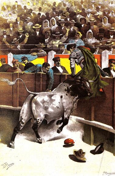 1886-07-26 La Lidia Toro del Duque rematando a coger en las tabl 001