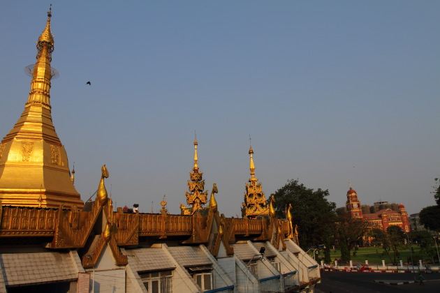 Shining Sule Pagoda from the top of a pedestrian bridge, Yangon, Myanmar