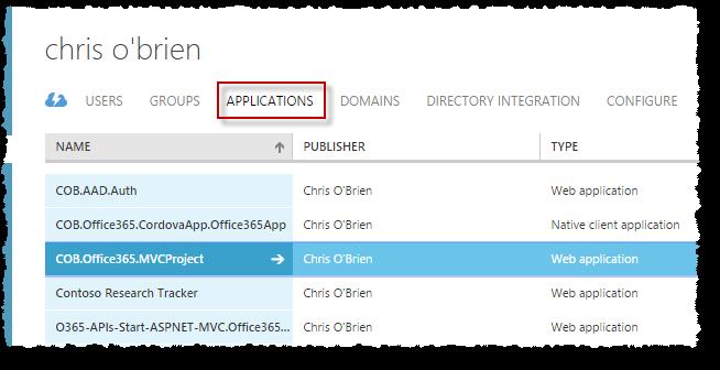 COB Azure AD - applications