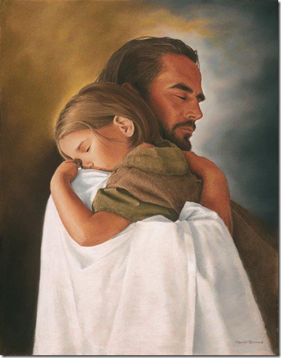 Jesus holding child