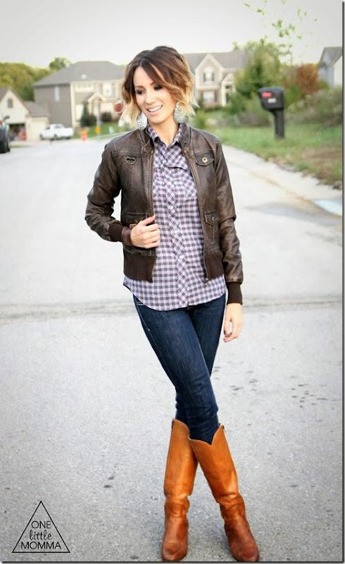Plaid, leather jacket, dark denim and tall boots