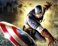 Capitão América destruindo carros