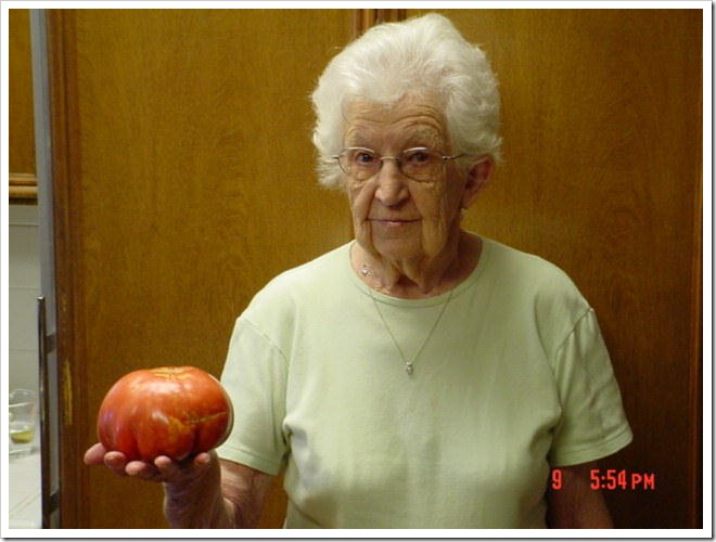Edith and tomato