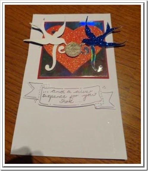 Silver Sixpence for her shoe card 1