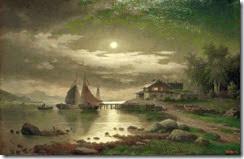 """2968302-L13-N1-1890-3                                                                                Schmitz, L.                             (deutscher Landschaftsmaler, taetig Ende       19.Jahrhundert).                        """"Mondnacht am Sonje-Fjord"""", undat.            Oel auf Leinwand, 63 x 97 cm.            Privatsammlung            , 2000.                                                                                       Foto: akg-images"""