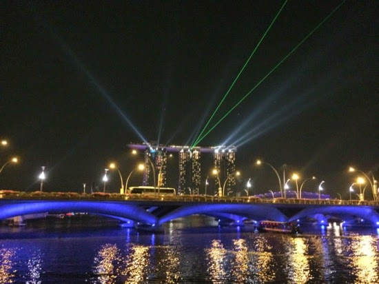Laser show - downtown Singapore at night
