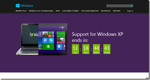 Support for Windows XP is ending