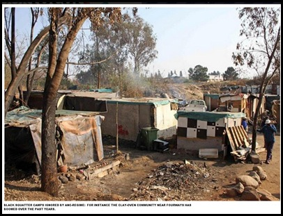 Black squatter camp Clay Oven Village Fourways north of Johannesburg left alone by ANC regime