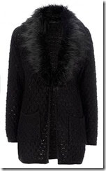 Wallis Black Faux Fur Collar Cardigan