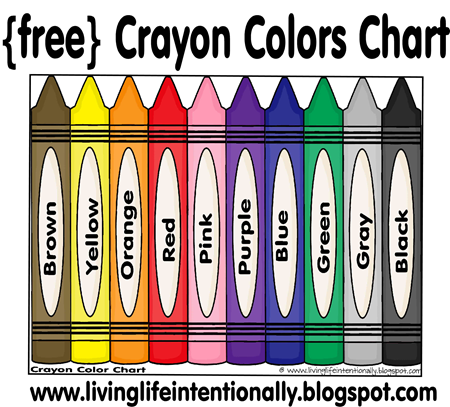 Free Toddler and Preschool Crayon Color Chart