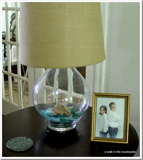 seaglass in lamp