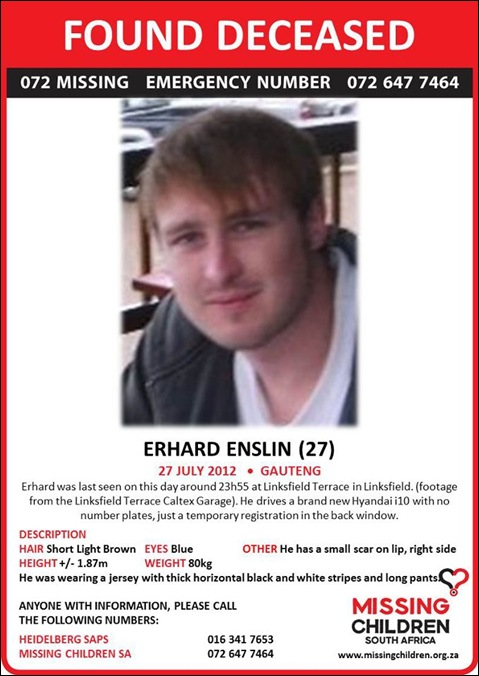 ENSLIN Erhard killed 27 july 2012 Linbksfield Gauteng head bashed in