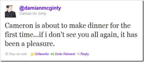 Twitter - @damianmcginty- Cameron is about to make d