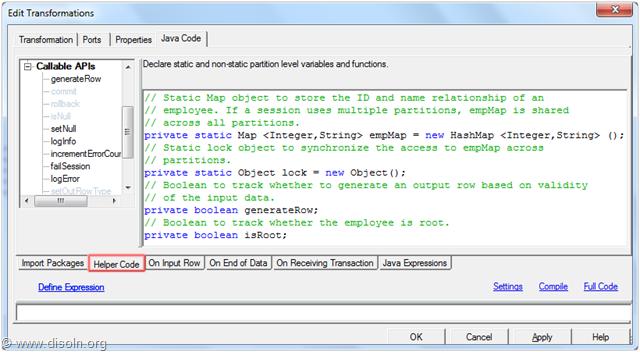 Informatica Java Transformation