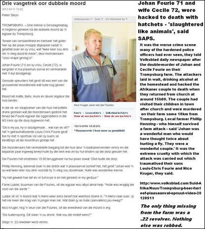 Fourie farm couple TROMPSBURG FS slaughtered like animals Johan and Cecile hacked to deat with hatchets Sept 9 2012