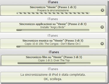 Sincornizzazione iPod/iPhone