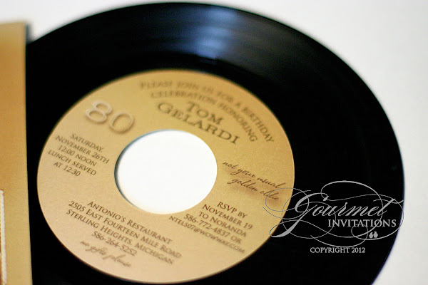 45RPM Record Album 80th Birthday Party Invitations Gourmet Invitations