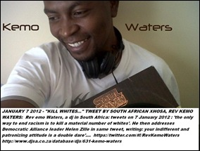 WATERS KENO REV THE WAY TO GET RID OF RACISM IS TO KILL A SIZEABLE AMOUNT OF WHITES Jan72012 TWEET