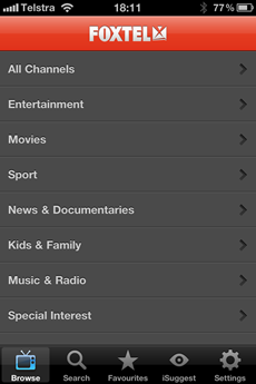 Foxtel iPhone app