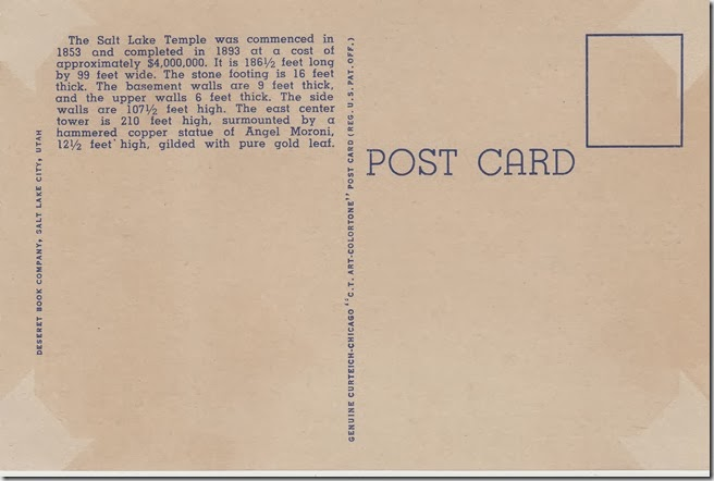 Salt Lake Temple Postcard pg. 2 - 1933