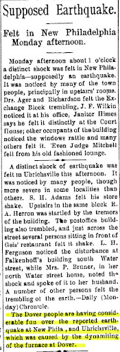 Newspaper item from The Ohio Democrat, New Philadelphia, Ohio, June 6, 1897