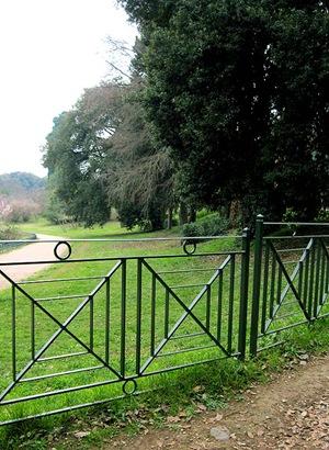 Ringhiera da palazzina di periferia nel parco di villa Pamphili (29 genn 2012)